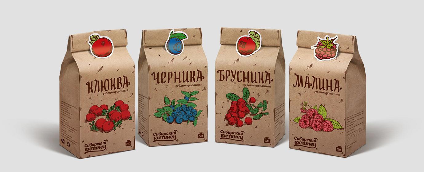 Упаковки сублимированных ягод «Сибирский гостинец»