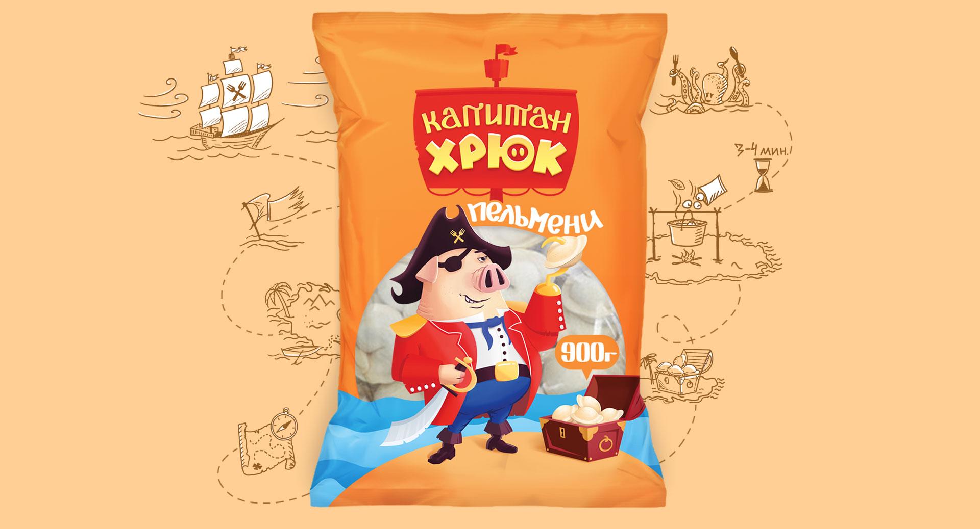 Упаковка пельменей Капитан Хрюк