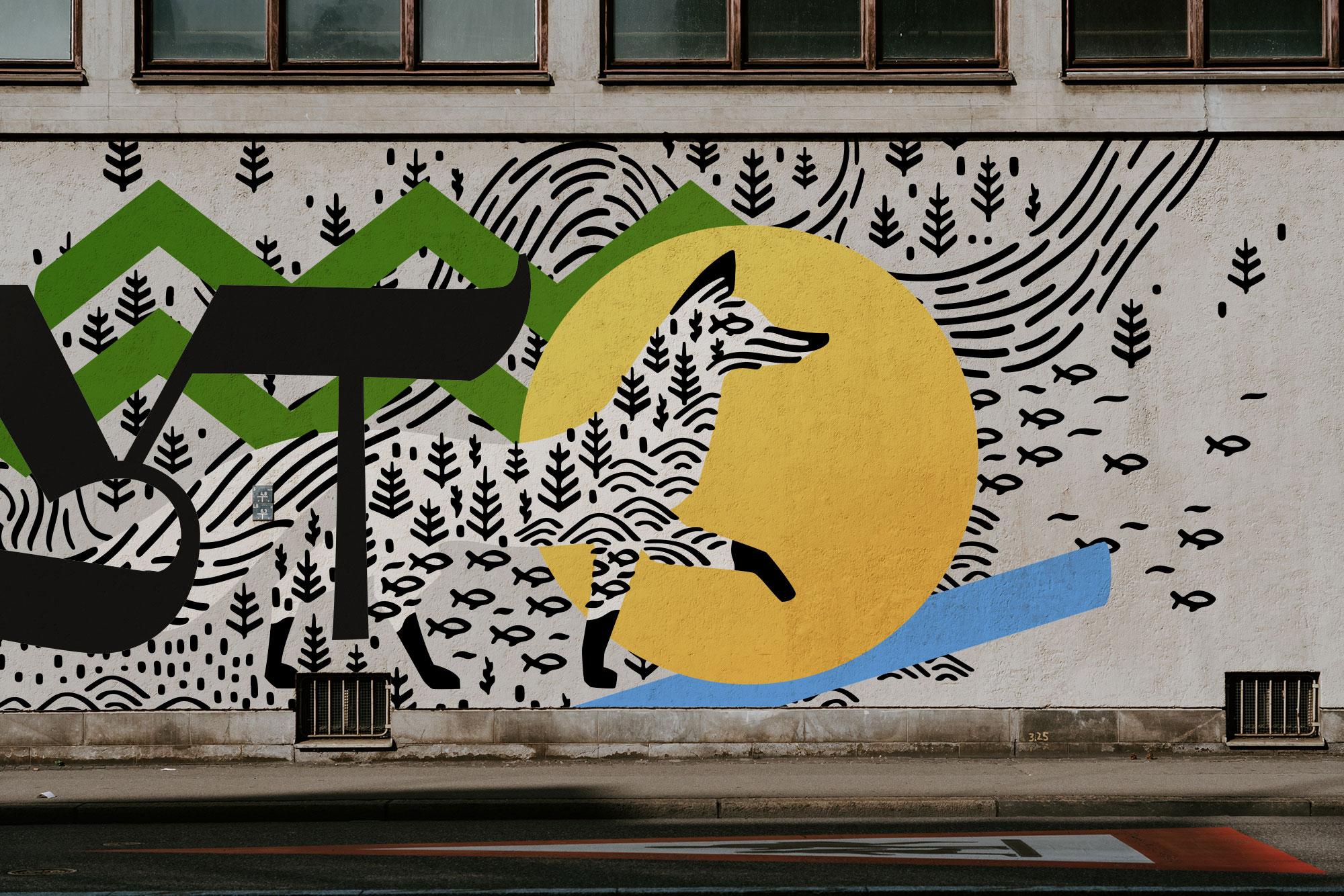 Логотип Сургута на стене граффити
